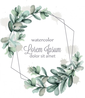 抽象的な花輪フレームの水彩画を葉します。