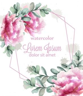 ピンクの牡丹の花のフレームの水彩画