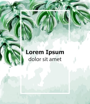 Пальмовые листья карты акварель