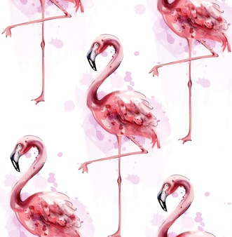 Фламинго узор акварель