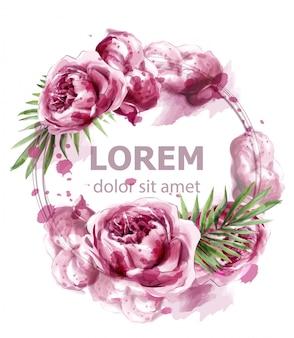 ピンクの牡丹の花の水彩画のバナー