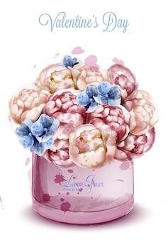 カラフルな牡丹の花の水彩画の花束