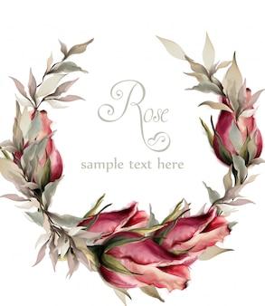バラの花輪の水彩画
