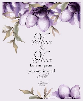 紫色の花カード水彩画