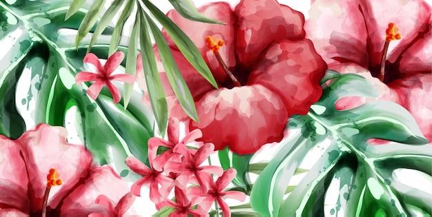 Тропик цветы фон акварелью