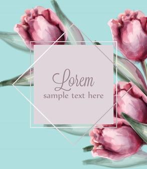 青い背景カード水彩画にピンクのチューリップの花