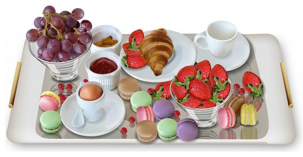 クロワッサンと朝食のコーヒー