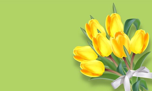 黄色いチューリップの花の花束