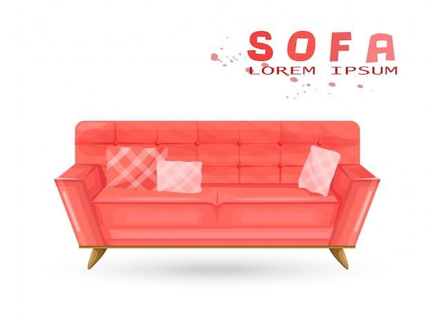 Красный старинный диван в акварели