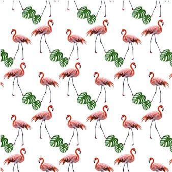 フラミンゴと葉のパターンの背景