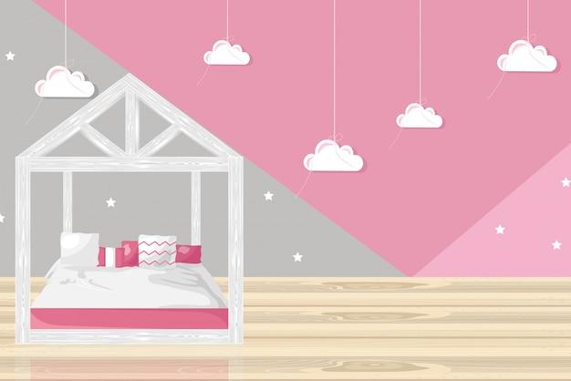 ピンクの女の子の寝室