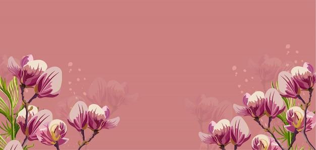 ピンクの背景にモクレンの花