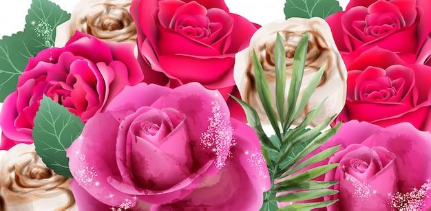 ピンクのバラとキラキラの水彩画