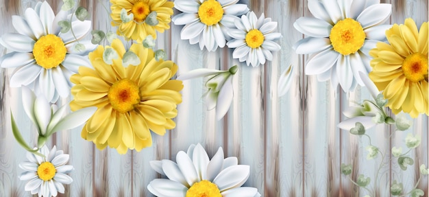 デイジーとチューリップの花ブーケ水彩画