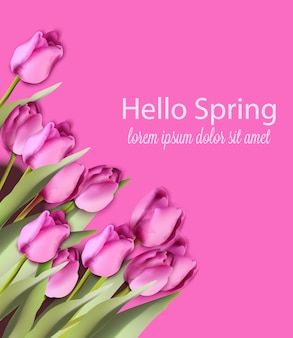 ピンクのチューリップカードの水彩画