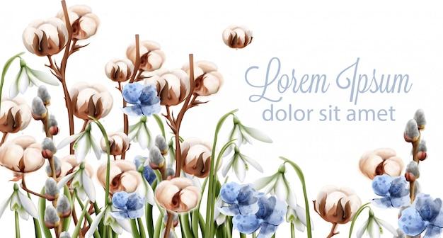 綿の花の背景の水彩画