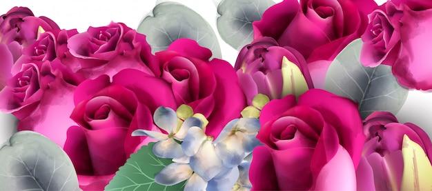 ピンクのバラのブーケ水彩画