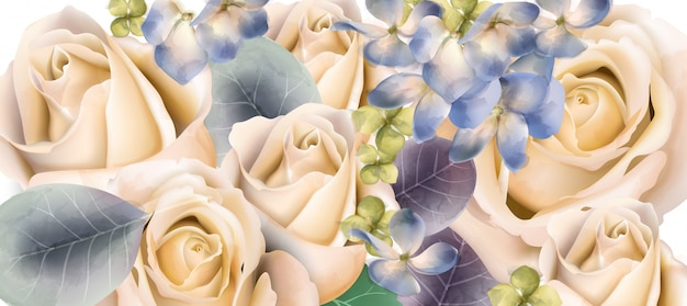 クリーム色のバラのブーケ水彩画