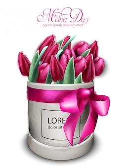 ピンクのチューリップの花ブーケ水彩画