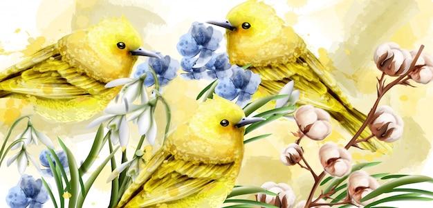 鳥と春カード水彩画