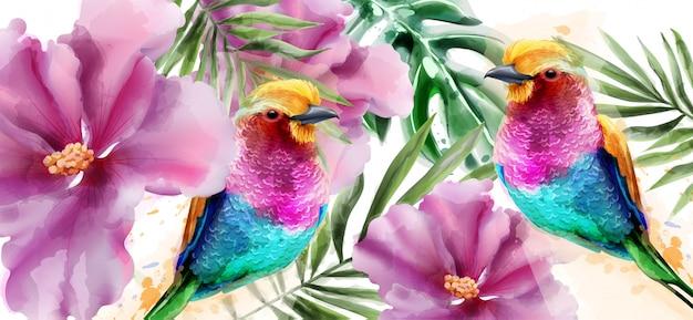 カラフルな鳥と花の水彩画