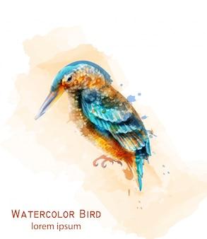 カワセミ鳥の水彩画