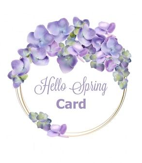春のアジサイの花輪の水彩画