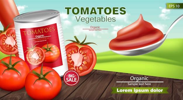 缶詰のトマトのリアルなモックアップ