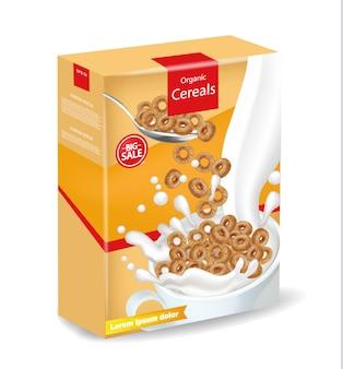 オーガニックライ麦シリアルパッケージモックアップ