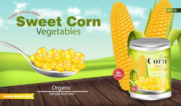 Макет пакета сладкой кукурузы
