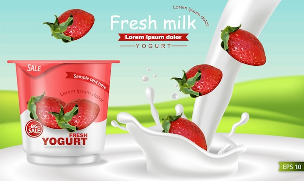 Клубничный йогурт реалистичный макет