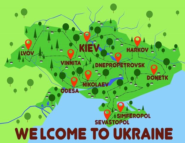 ウクライナ地図国インフォグラフィック