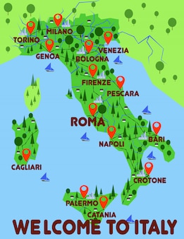 イタリア地図国インフォグラフィック