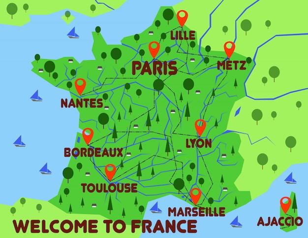 フランス地図国インフォグラフィック
