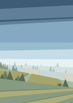 抽象的な多角形の緑の風景
