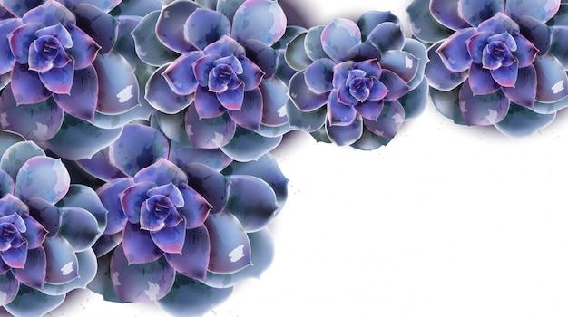 青い多肉植物の花の水彩画と春バナー