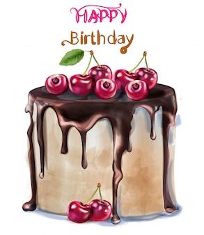 お誕生日おめでとう美味しいチェリーケーキの水彩画