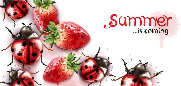 夏のイチゴとてんとう虫の水彩画