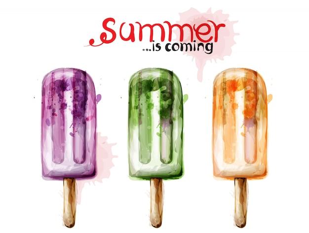 夏のアイスクリームの水彩画