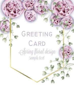 Весенний пион цветы акварель