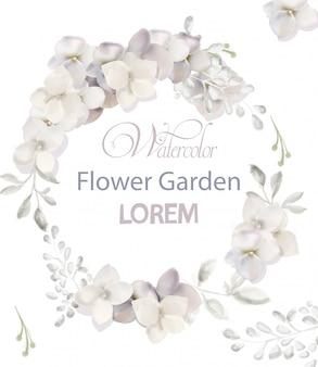 白い花の花輪の水彩画