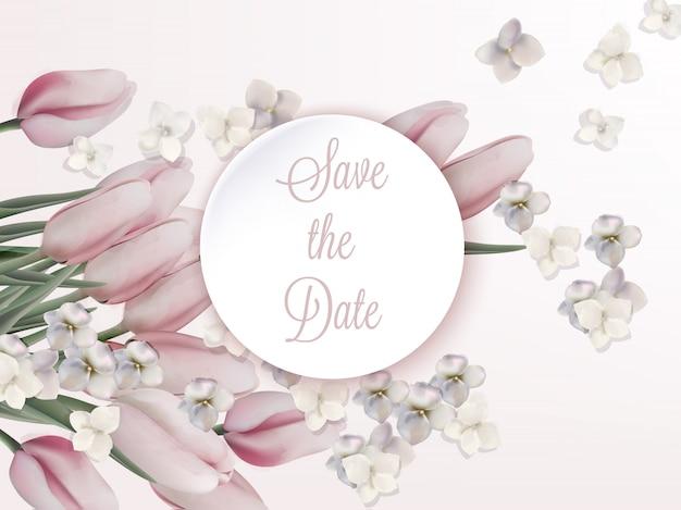 ピンクのチューリップの誕生日の招待状