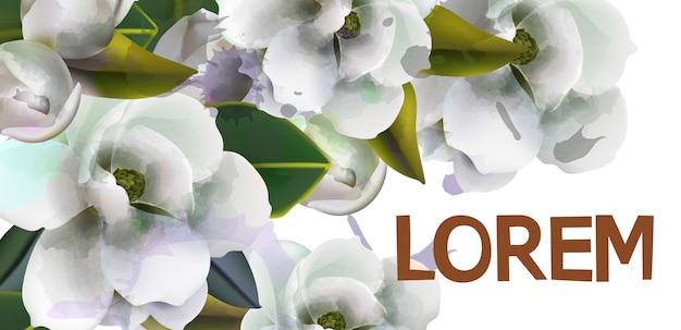 白い花の水彩画