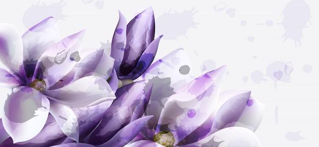 Фиолетовая цветочная акварель