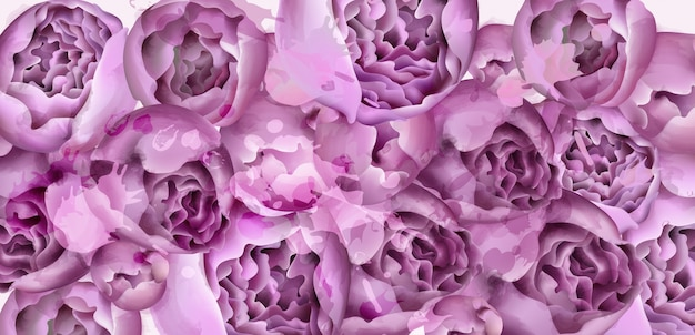 紫牡丹の花カードの水彩画
