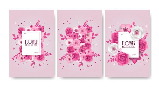 春のお祝い花のデザイン、装飾、花、蝶と紙のカットスタイルバナーのセット。
