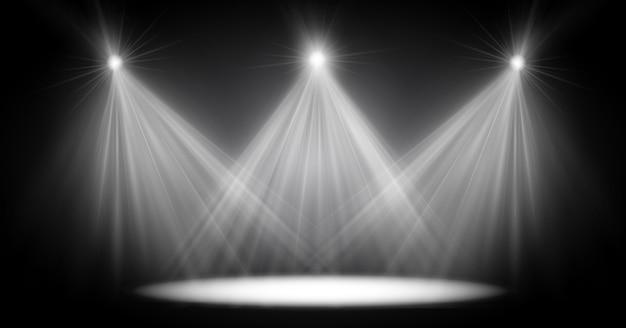 シーン照明ライト、透明フラッシュライト効果、日光専用レンズ。明るいフラッシュとスポットライトによる照明。ステージのスポット照明。