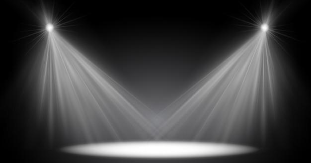 Освещение сцены, прозрачный эффект вспышки, солнечный свет, специальный объектив. яркие вспышки и освещение прожекторами. точечное освещение сцены.
