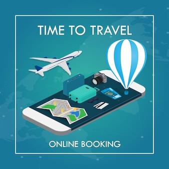Концепция путешествия в изометрическом стиле. паспорт, билеты, сумки и самолет, туристическое снаряжение на мобильном смартфоне с сенсорным экраном. бронирование онлайн.