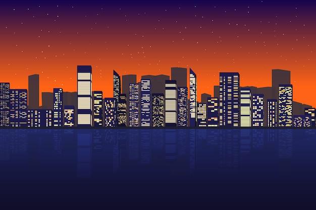Городской пейзаж ночью